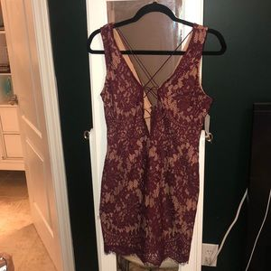 Tobi burgundy lace mini dress